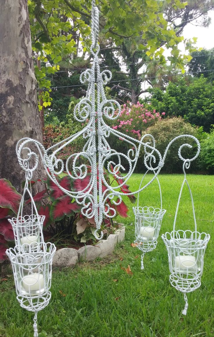 White Hanging Candle Chandelier Wedding Or Decor By Theatticshelf On Etsy