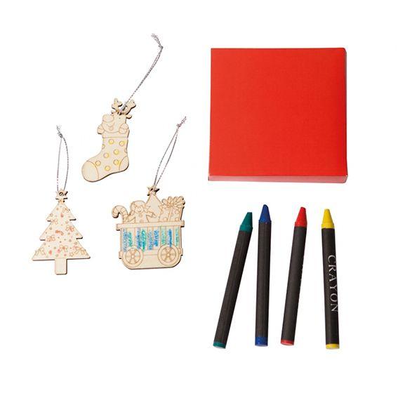 Color de Navidad 6-en Madera Bolas Colgante Decoraciones Niños Regalo de pintura manualidades