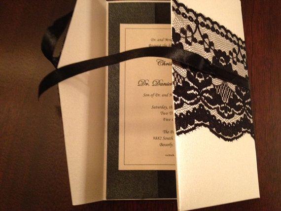 Lace Wedding Invitation Pocketfold by EmilysEnchantments on Etsy, $5.75
