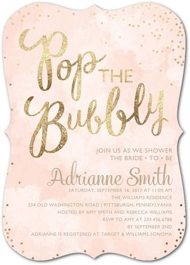 Champagne Confetti - Signature White Textured Bridal Shower Invitations - Sarah Hawkins Designs - Cashmere Pink - Pink : Front