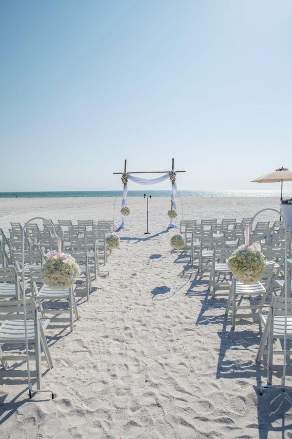 White Wedding Ceremony On Beach / Koru Wedding Style: {Pink U0026 White Florida Beach  Wedding} Laura U0026 Stephen