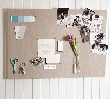 Linen Pinboard #potterybarn-smaller bulletin board version. Coupons & Things to Take or Do List