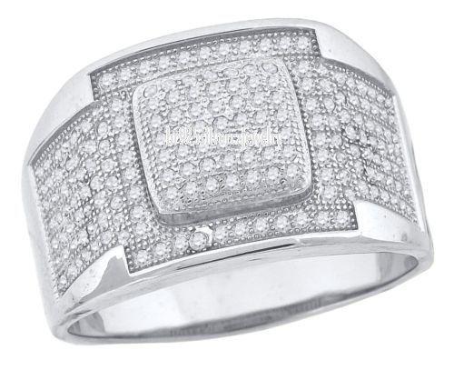 925 STERLING SILVER 14K WHITE GOLD FINISH ROUND LAB DIAMOND MENS PINKY RING BAND #br925silverczjewelry #MensWeddingRing #WeddingEngagementAnniversaryBirthdayGift
