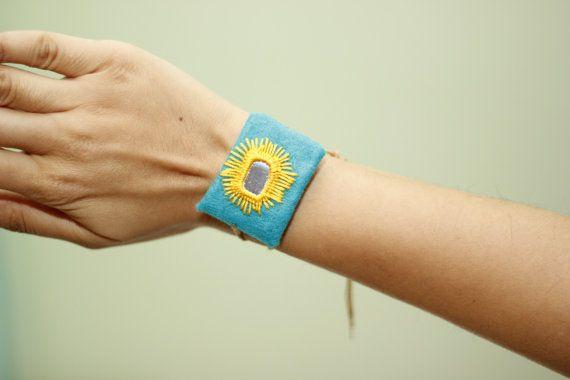 Sunshine Embroidery Bracelet by BaluchEmbroidery on Etsy