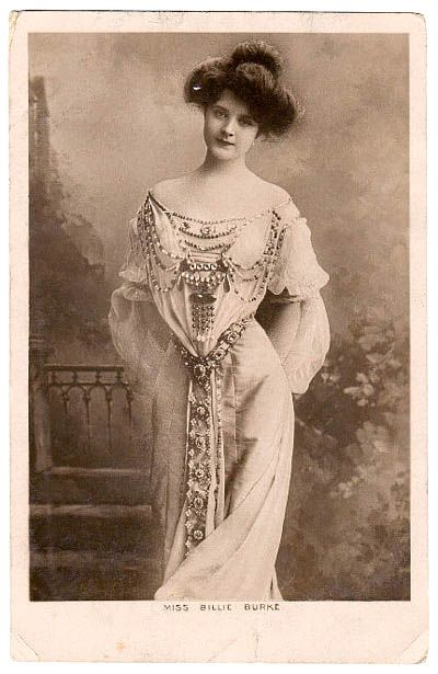 Billie Burke, Ziegfeld girl and wife of Florence Ziegfeld. (August 7, 1885 - May 17, 1970) When Burke met Ziegfeld at a New Year's gala, it was love at first sight for both of them. They were married in 1914, and had a daughter, Patricia, two years...