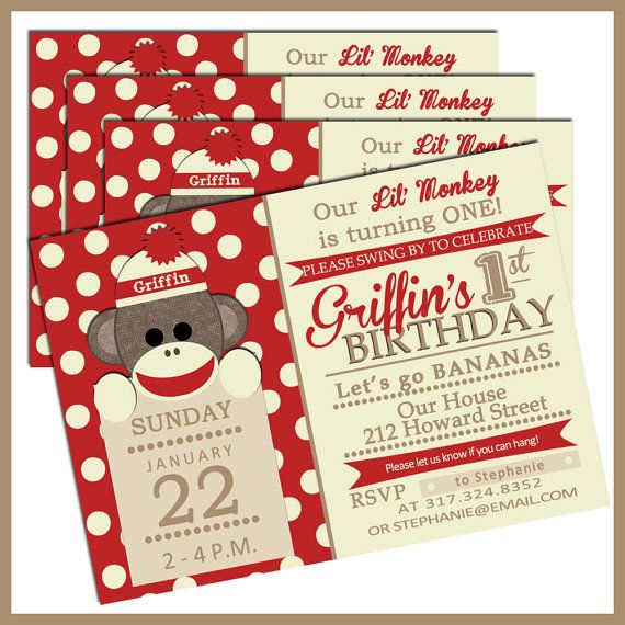 Sock Monkey Birthday Invitations...Have to have these!