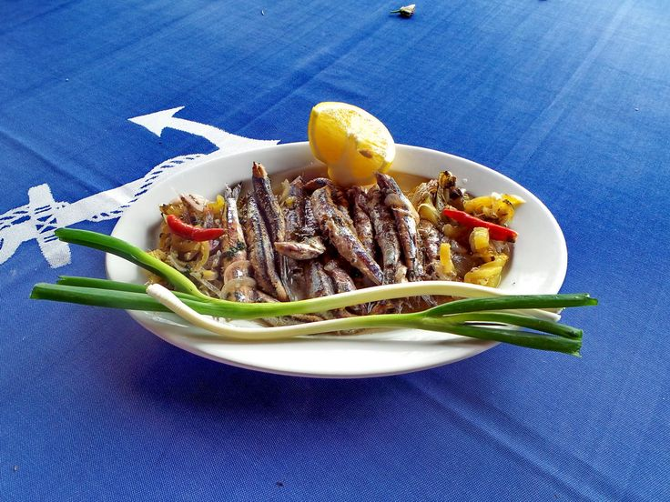 Marinated anchovies in herbs and spices from Plimari tavern