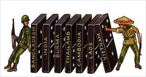 the domino theory states that a political event in one country will cause similar events in neighboring countries, like a falling domino causing an entire row of upended dominoes to fall.