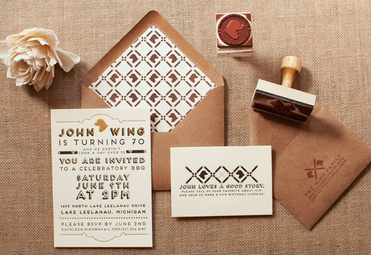 Designer Laura Wing-Kamoosi expresses her love through letterpress and foil in this admittedly over-the-top BBQ invitation for her father's 70th birthday celebration.