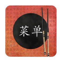 "Mini pagoda chopsticks ""Menu"" Coaster"
