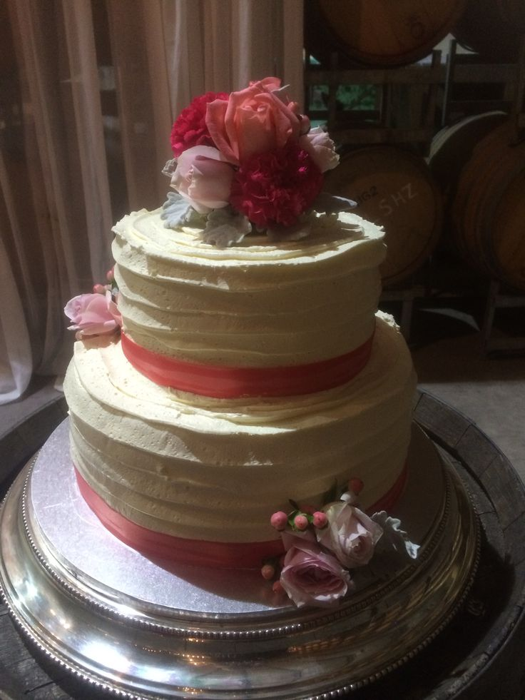 Ribbon style Swiss meringue buttercream cake by Clyde Park, what a beautiful wedding!