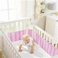Tela Respirável Protetora para Grade de Berço Rosa Breathable Baby