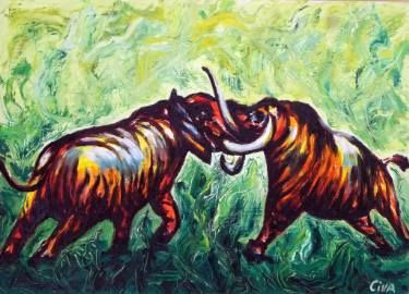 "Saatchi Art Artist Dan Civa; Painting, ""Animal fight (2016 no.10)"" #art"