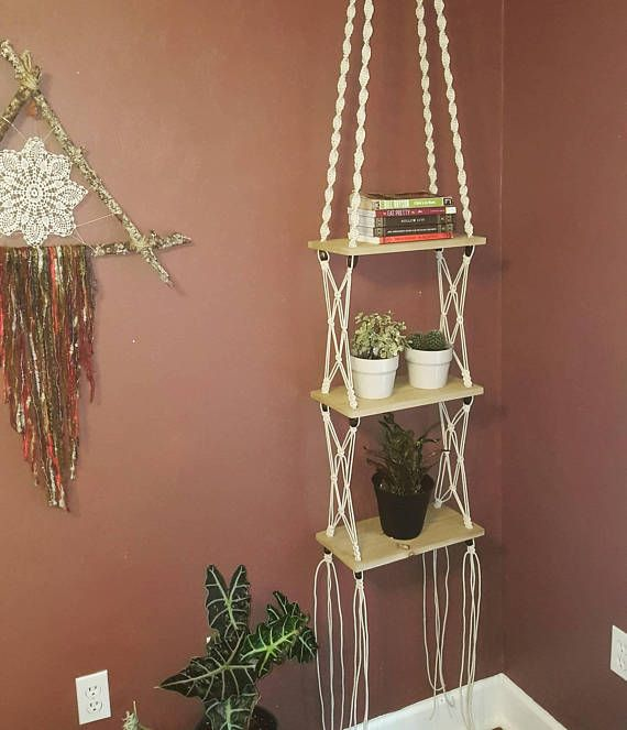 Three Tier Macrame And Cedar Shelf With Fun Wooden Beads