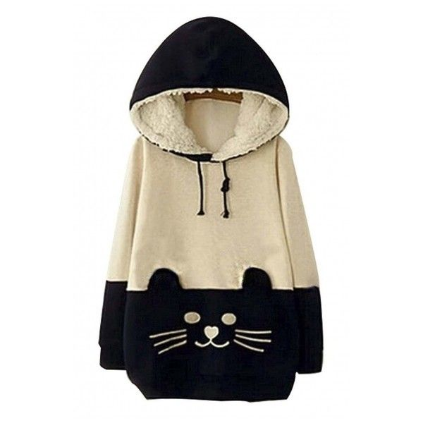 Woman Girls Kawaii Cat Face Tail Hoodie with Cute Hat Fleece Sweater... ($42) ❤ liked on Polyvore featuring tops, hoodies, outerwear, fleece hoodies, cat hoodie, fleece hooded sweatshirt, fleece shirt and cat shirts