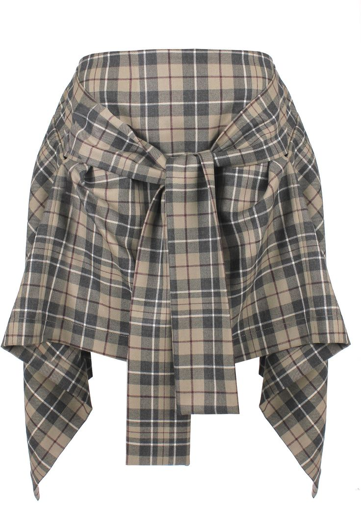 Vivienne Westwood Anglomania Tartan Hope Skirt in McStone. Vivienne Westwood's lightweight virgin wool Hope Skirt is decorated in her synonymous tartan.  With a twin button fastening the skirt features a belt tie that creates an elegant draped silhouette that is emphasised with the asymmetric hemline.