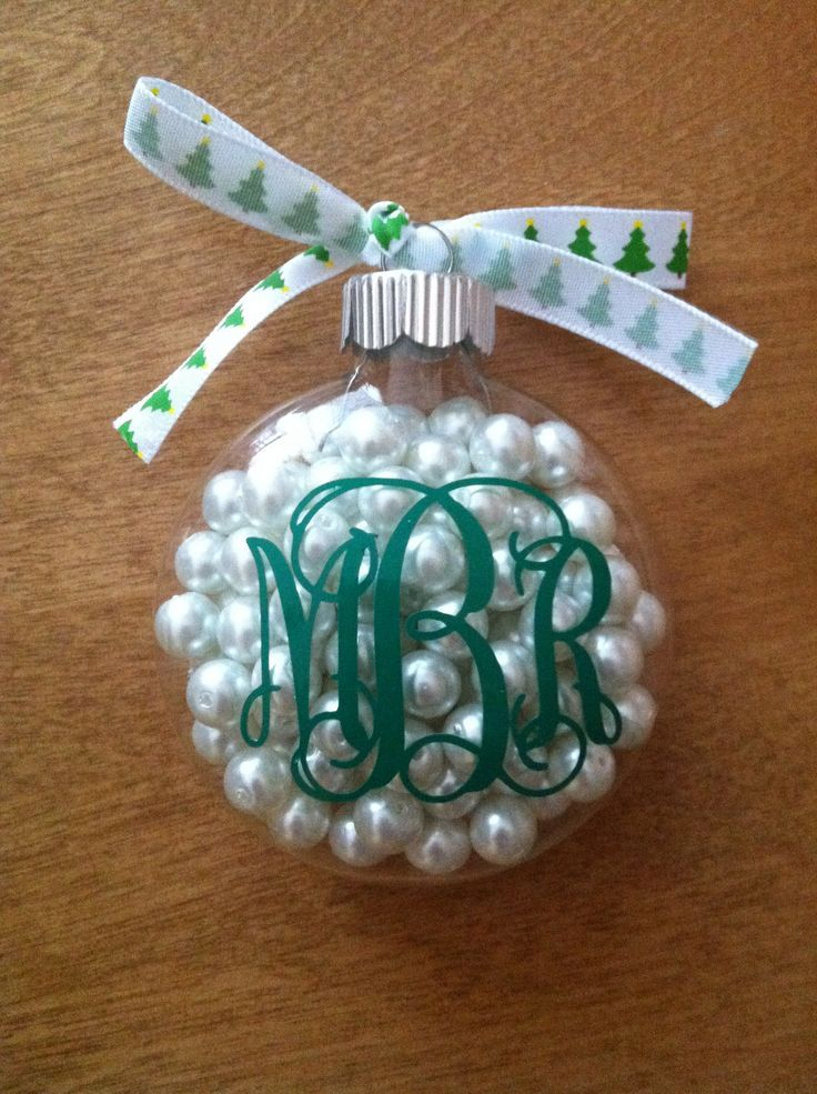 clear ornament with pearls and monogram