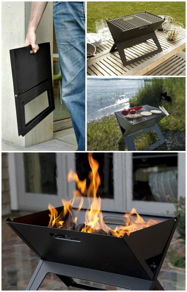 "The Notebook Charcoal Grill is the perfect portable charcoal grill. The clever design allows it to stand 13"" for use and then fold flat to one inch in seconds."