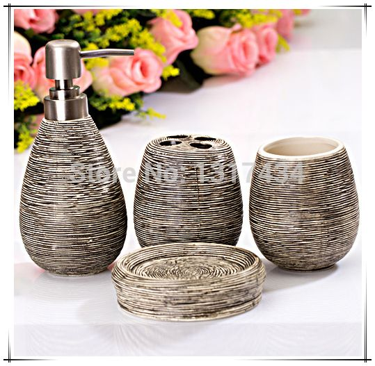 Aliexpress Com Buy Straw Decorative Four Piece Bathroom Set Product Toothbrush Holder Soap Dispenser