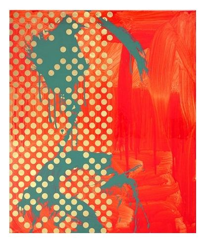 'Flamingo' (gesso, acrylic & vinyl polymers, fluorescents, epoxy, oil size, Swiss gold leaf on canvas) by Max Gimblett.