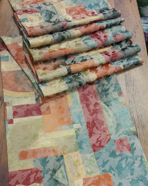 Reversible Modern Multi Color Table Runner With Geometric Print Fabric.  (shades Of Teal, Green, Burnt Orange, Golds) Finished Measurements Of 19