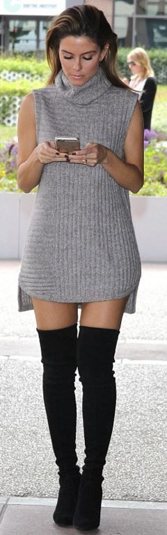 Who made Maria Menounos' gray sweater dress and black thigh high boots?