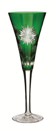 Truly extraordinary, the Snowflake Wishes for Courage flute sparkles with snowflakes cut in the style of Waterford's bold Carina pattern. Exquisitely crafted in emerald-green crystal, it's an heirloom