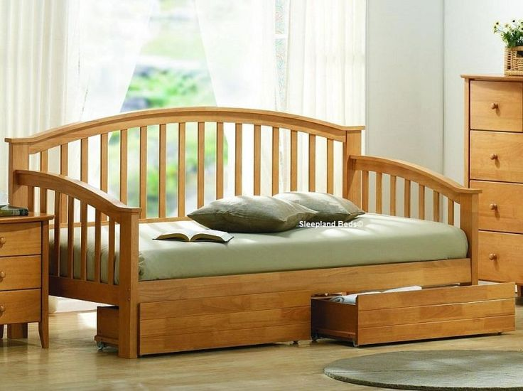 Day Bed With Storage - 3ft Single Wooden Daybed With 2 Storage Drawers
