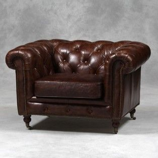 St Andrews Vintage Leather Chesterfield Armchair £125