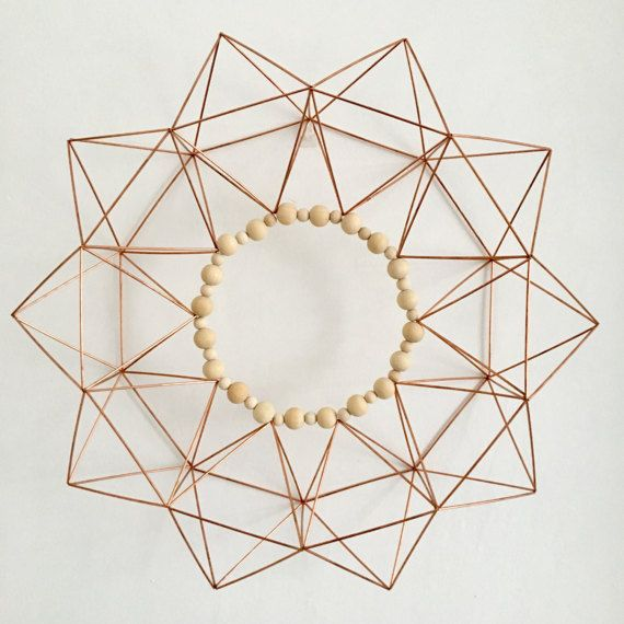 Copper Starburst Himmeli Wreath Modern Wreath with Natural