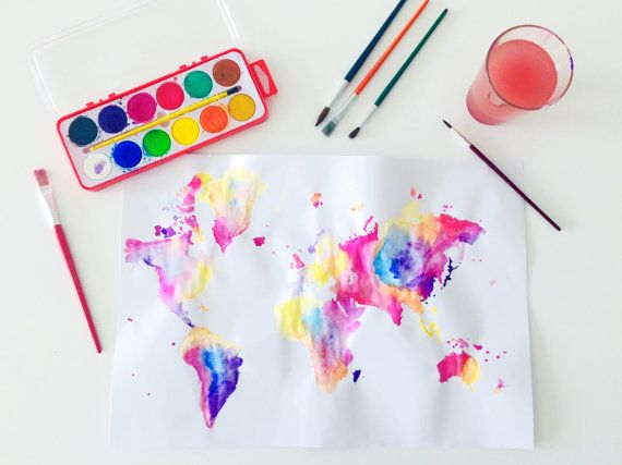 Handmade Watercolor World Map Painting by Colortastico on Etsy