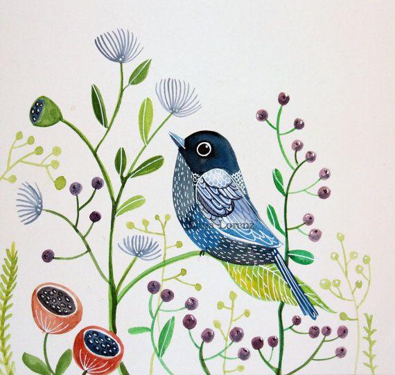 SALE Blue bird with berries, wall art, children room decor, original painting of a blue birdSALE