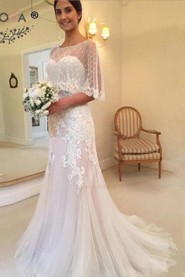 Outlet Feminine Modest Wedding Dresses, Wedding Dresses Unique, Mermaid Wedding Dresses