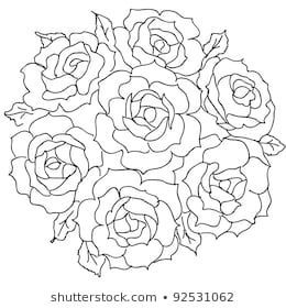 Large bouquet of roses. | Roses drawing, Coloring pages ...