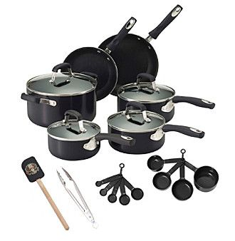 Guy Fieri 21-pc. Black Nonstick Aluminum Cookware Set with Tools