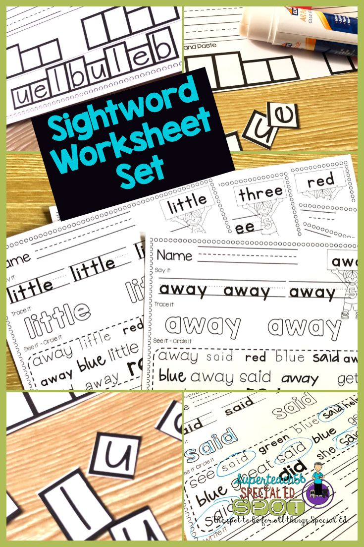 This Sight Word Worksheet Reinforcement Set Gives You 5 Different Fun And Easy Ways To Hel Special Education Sight Words Sight Words Special Education Students [ 1103 x 735 Pixel ]