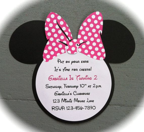 20 Handmade Minnie Mouse Invitations with Number on back - Pink with White Polka Dots