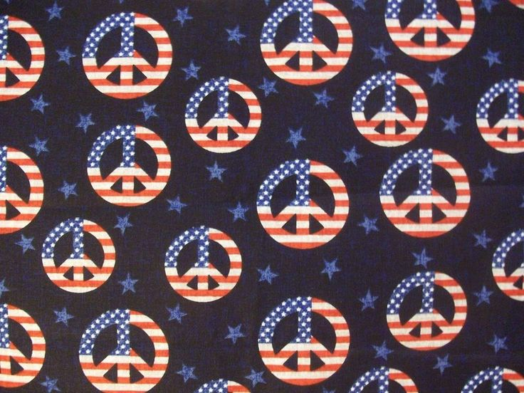 Fabric Traditions Peace Sign Material Patriotic Red White Blue Stars Stripes  #FabricTraditions
