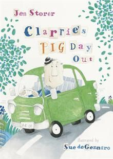 Clarrie's Pig Day Out By Jen Storer, Illustrated by Sue deGennaro A very funny picture book about farmer Clarrie who gets his worms, no! his words, mixed up. Clarrie is a farmer who loves his chickens and his dog, Bert. Clarrie also gets his worms, no! he means his words, mixed up. So when Clarrie and Bert head out in his jar, whoops, he means car, it turns out to be a day filled with fun and surprises. Young children will love seeing how Clarrie mixes up his words!