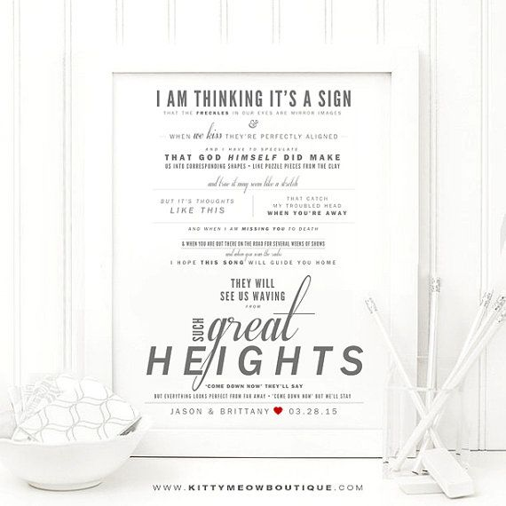 """Nice Wedding Gift Ideas: """"Such Great Heights"""""""
