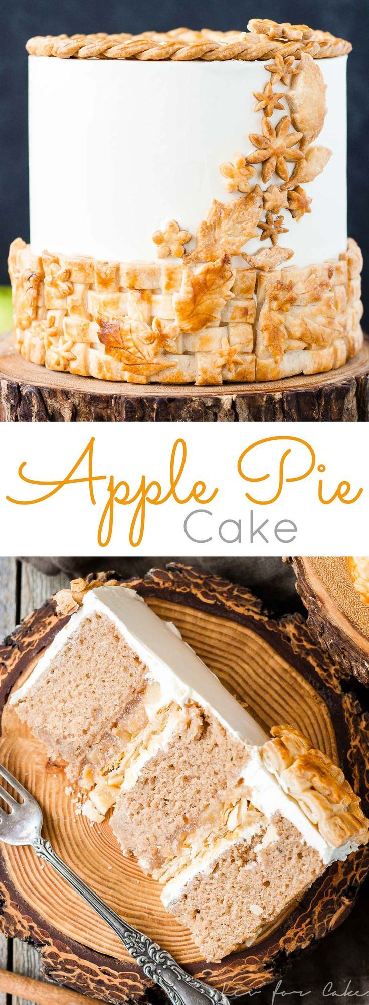 Apple Pie Cake! Layers of spice cake, vanilla buttercream, apple pie filling, and even flakey pie crust. | http://livforcake.com