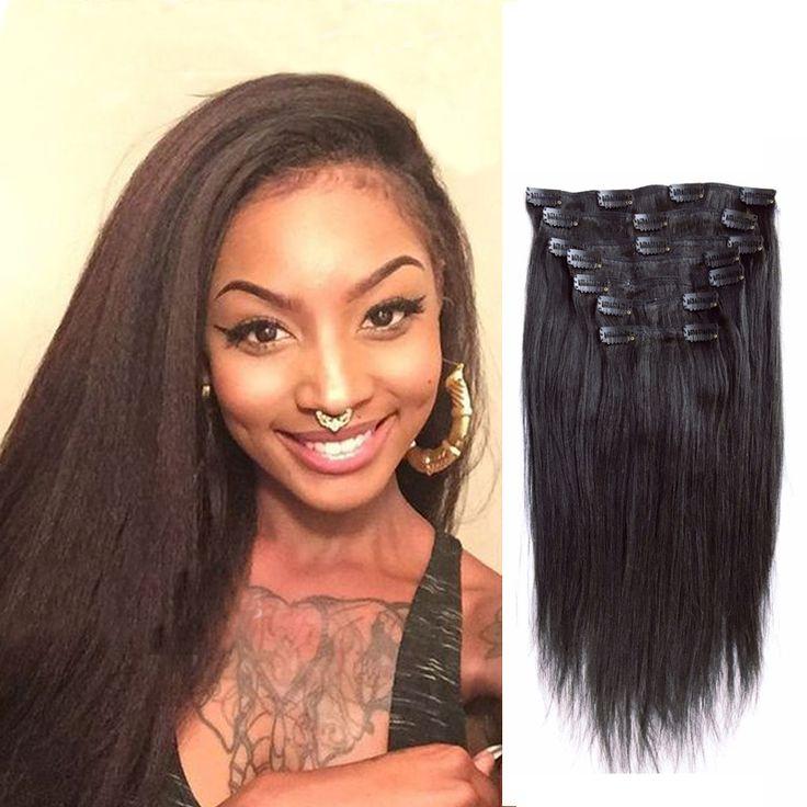 7A Yaki Prosto Klamerka W Ludzkich Włosów Rozszerzeniach Brazylijski Virgin Włoski Yaki Gruba Yaki włosów Klip W Przedłużanie Włosów Klip Ins