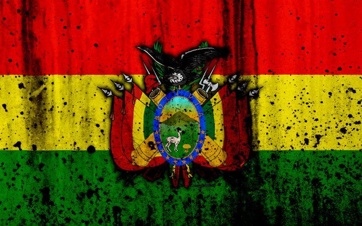 Download wallpapers Bolivian flag, 4k, grunge, flag of Bolivia, South America, Bolivia, national symbols, coat of arms of Bolivia, Bolivian coat of arms, Bolivia national emblem