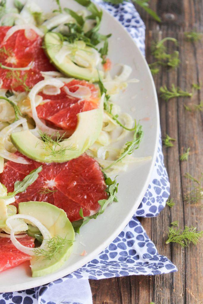 Salade de pamplemousse, avocat, fenouil et roquette - aime & mange