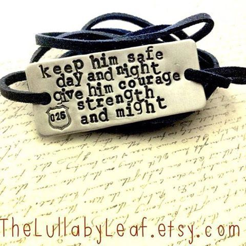 "Wrap bracelet ""keep him safe day and night give him courage strength and might"" badge hand stamped, police wife, SALE, Christmas, custom, $20.00"