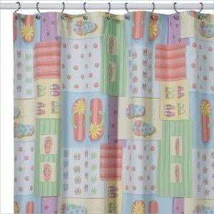 Fancy Feet Flip Flop Shower Curtain $25.95 Ideas Flip Flop Shower Curtain