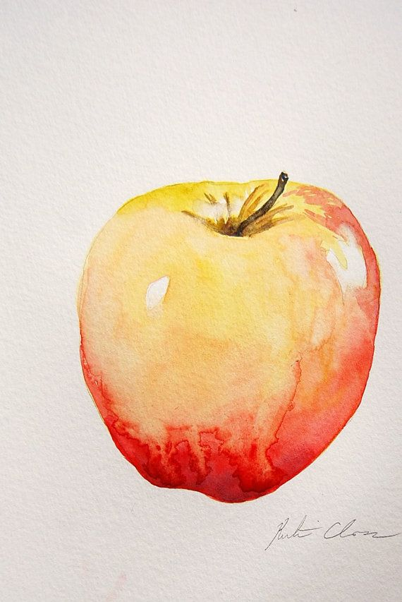 Watercolor Painting Apple Still Life Original Small by WoodPigeon, $25.00