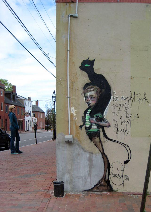 """""""He might look scary but he is my best friend."""" by Herakut: Street Artists, Kitty Cat, Best Friends, Street Art Utopia, Black Cats, Blackcat, Black Cat, Streetart, Graffiti Art"""