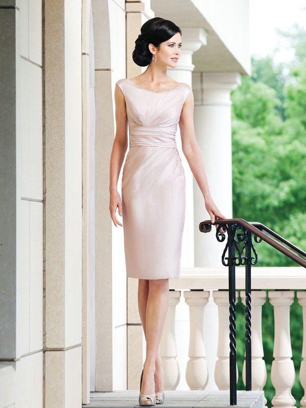 2013 New Style Sheath/Column Bateau Knee-length Taffeta Cheap Mother of the Bride Dress #USAFF446
