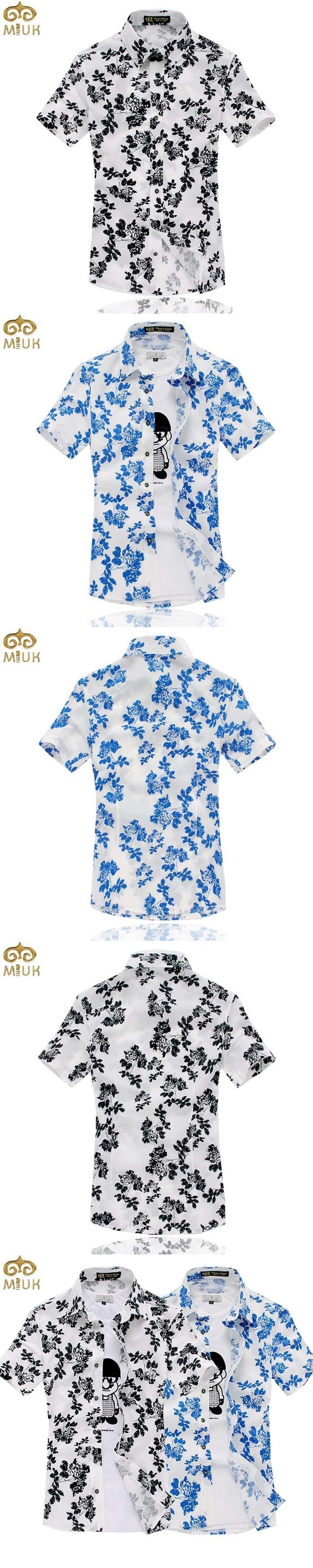 MIUK Large Size Floral Summer Style Camisas Hombre 5XL 4XL Cotton Brand Shirt Short Sleeve Casual Men Clothes 11.11 2017 New